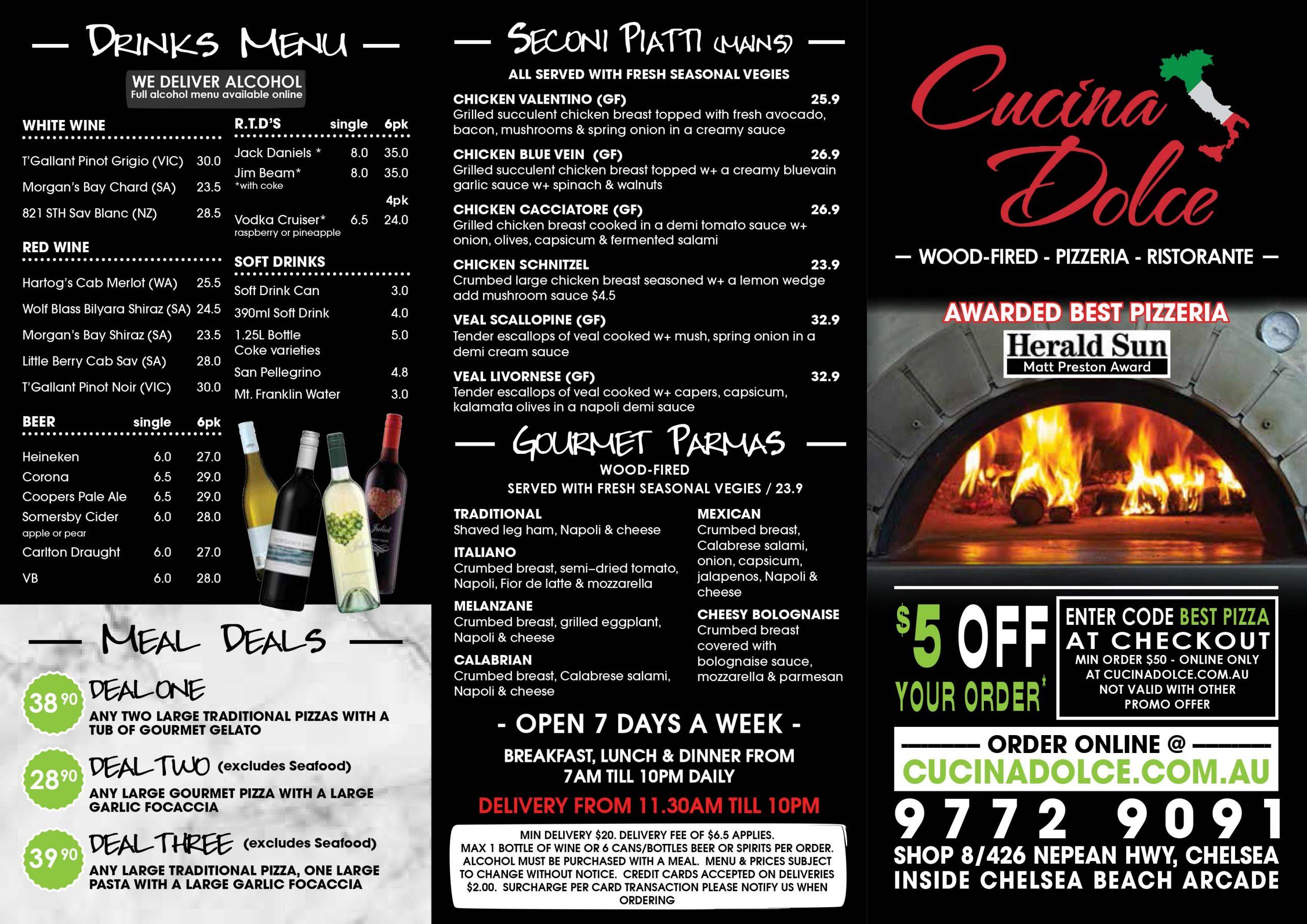 takeaway menu black